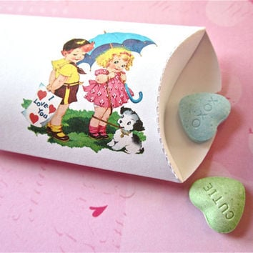 Valentines Day Pillow Boxes Set of 12 Retro Candy Gift Boxes for School Treats