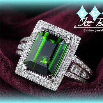 Vintage Engagement Ring 2+ct Green Tourmaline in a White Gold Diamond Frame Setting Emerald Alternative