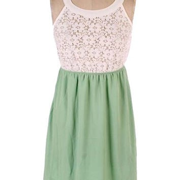 White Lace Halter Top /Mint Bottom Dress