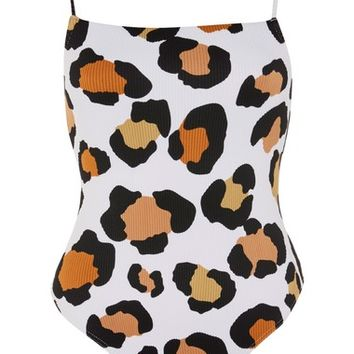 Topshop Leopard Rib One-Piece Swimsuit | Nordstrom