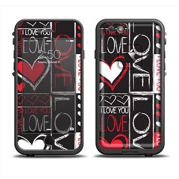 The Sketch Love Heart Collage Apple iPhone 6 LifeProof Fre Case Skin Set