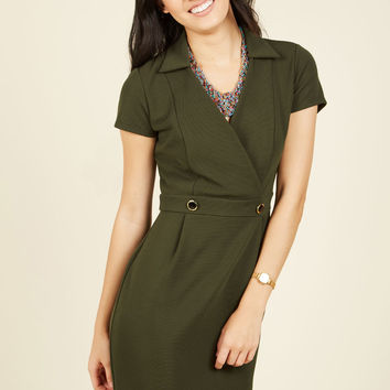 Sophisticated Situation Sheath Dress in Olive | Mod Retro Vintage Dresses | ModCloth.com