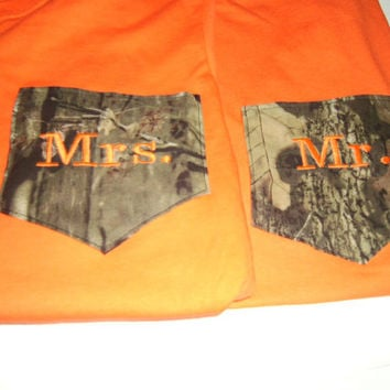 Wedding Camo Mossy Oak T-Shirt  Monogrammed Pocket  MR & MRS Engagment Wedding