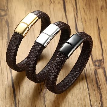Vnox 12mm Genuine Real Leather Bracelet For Men Women Bangle Stainless Steel Casual Braided Chain Black Brown Male Jewelry