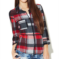 Button Up Plaid Shirt | Wet Seal