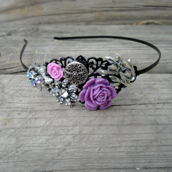 Sparkly Headband, Metal Women's Head band, Radiant Orchid Headband, Sparkly Headpiece, Prom Headband