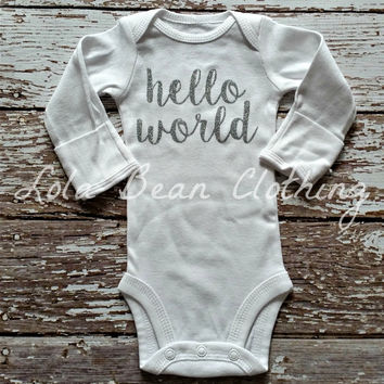 Baby Girl Take Home Outfit Newborn Baby Girl Hello World Onesuit Silver Glitter