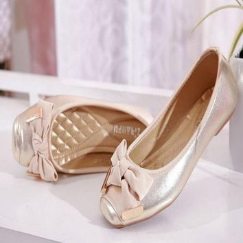 Sweet Bowtie Square Toe Women Flat Shoes