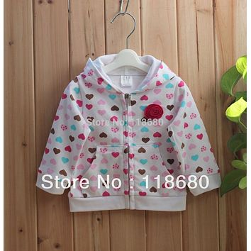 Free shipping Retail spring autumn baby clothes kids hoodies Outerwear girls jacket baby printed love Cardigan coat
