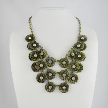 VINTAGE Style Multi Strand Gold Rosette Medallion BIB Necklace & Earrings