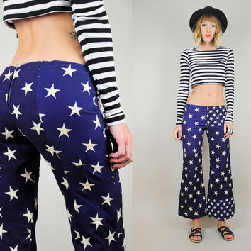 60's AMERICAN FLAG Stars FLARED Bell Bottom Handmade Pants hippie Low Rise Americana 4th of July xs