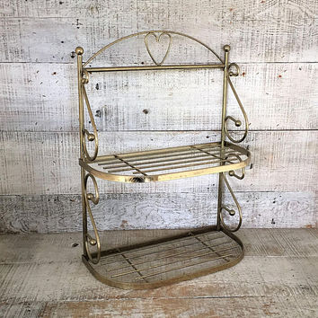 Brass Shelf Brass Wall Shelf Mid Century Wall Mount Shelf Gold Shelf Brass Heart Shelving Unit Mid Century Wire Shelving Unit