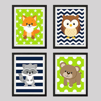 Woodland Animals, CUSTOMIZE YOUR COLORS, 8x10 Prints, set of 4, nursery decor nursery print art baby room decor kids