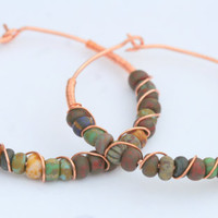 Copper Wire Wrapped Hoop Earrings with Glass Beads