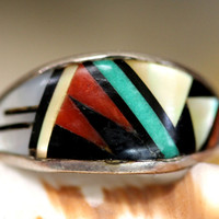Zuni Channel Inlay Ring T. Bowannie Sterling Silver Stackable