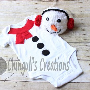 Snowman Bodysuit and Hat Outfit Crochet Snowman Outfit Baby Snowman Crochet Snowman Hat Snowman costume