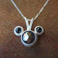 Sale - Handmade Disney Mickey Mouse Shiny Rose Cut Hematite and Black Spinel Silver Necklace with Crescent Moon Stamp and Heart Piercing