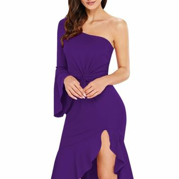 Purple Twist and Ruffle Accent One Shoulder Prom Dress