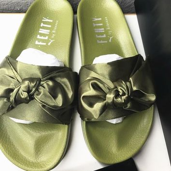 PUMA fenty rihanna silk Bow Slide Sandals Shoes sneakers spring Army Green