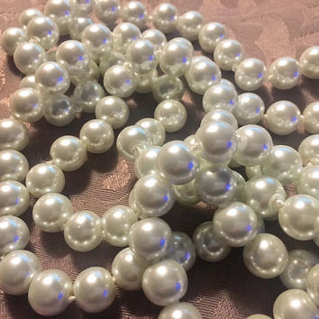 "20s style 1920s Gatsby Faux LARGE 60"" WHITE 12mm Long Pearl Flapper Necklace Jazz Era 1920's Downton Abbey Pearls Flapper Accessory Jewelry"