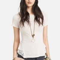 Free People Lace Hem Peplum Top