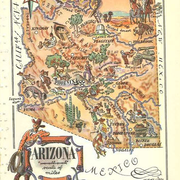 Arizona Map Art / Vintage Map Print / 1950s Jacques Liozu Art / Old Map Wall Art / Travel Wall Decor / AZ State Art Print / Scrapbook Paper