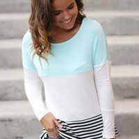 Mint and Ivory Color Block Top