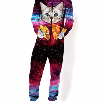 Aesthetic Casual Long Sleeve Space Cat Jumper Unisex Zip-Up Hoodies Food Pizza Cat Printed Jumpsuit Spring One Piece Pullover