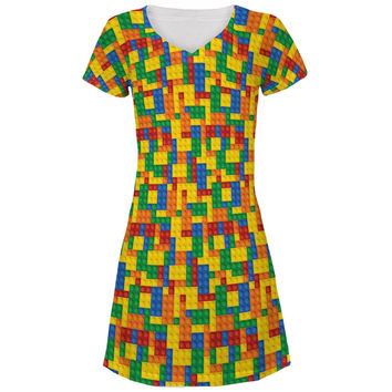 Halloween Building Blocks Costume All Over Juniors V-Neck Dress