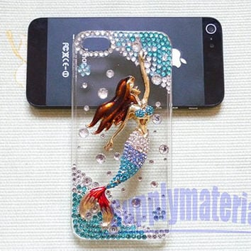 1PCS Handmade Crystal and Blue Mermaid cell phone case for iPhone 5 cover
