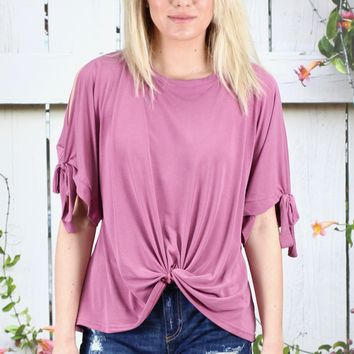 Front Twist Open Sleeve Modal Top {Mauve}