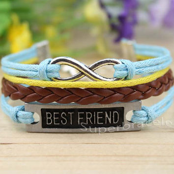 Infinity Bracelet - brown leather cord Bracelet with the Infinity charm, and BESTFRIEND Bracelet, girlfriend and BFF