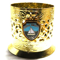 Vintage Bobby Pin Cup/Holder Magnetic Souvenir of Corpus Christi Gold with enamel charm