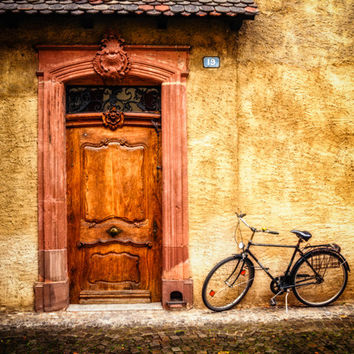 Travel Photography, Door and Bicycle, Street Photo, Fine Art Print, Yellow Brown, Earth Tones, Autumn, Gift for Him, Switzerland, Home Decor