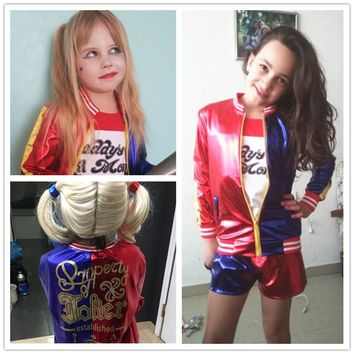 Harley Quinn Cosplay Costumes 2018 Kids Girls Purim Coats Femme Jacket Chamarras De Batman Para Mujer Suit with Wig Gloves