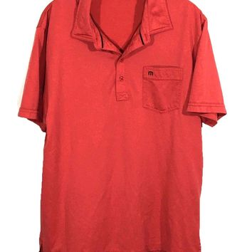 Travis Mathew Rust Red Front Pocket 4 Button Golf Tennis Polo Shirt Mens Large L - Preowned