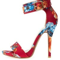 Floral Satin Single Strap Heels by Charlotte Russe - Fuchsia Combo