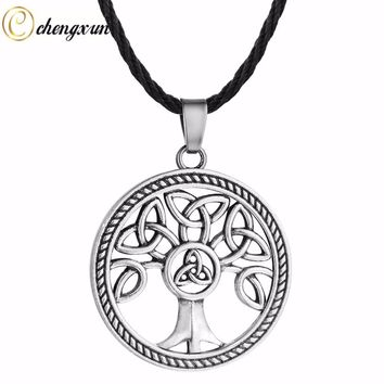 Round Hollow Vintage Necklace Tree of Life Pendant Celtic Knot Charm Jewelry