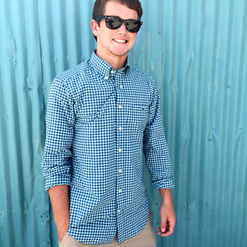 Vineyard Vines Performance Bradley Gingham Slim Fit Shirt- Aquamarine