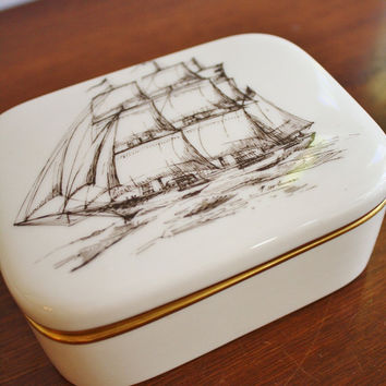 Vintage Lenox porcelain box with ship by highstreetmarket on Etsy