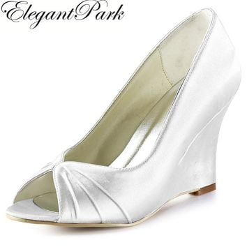 Fashion Woman Shoes EP2009 White Ivory Peep Toe Pleated Wedge Heels Satin Women's Wedding Bridal Pumps Lady Shoes Wedding Heels