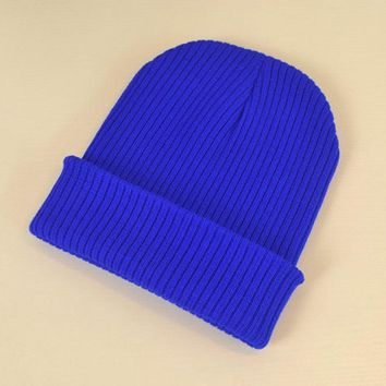 Autumn Winter Women's Hats Solid Striped Cuff Beanie 100% Acrylic Soft Stretchy Knit Skull Cap Black Grey Blue Ivory Navy etc.