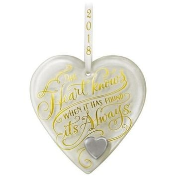 Happy Anniversary Heart 2018 Glass Ornament