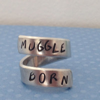 Muggle Born  - Harry Potter Inspired - Aluminum Wrap Ring  - Hand Stamped