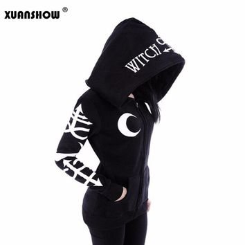 Gothic Punk Moon Witch Printed Long Sleeve Zipper Sweatshirt
