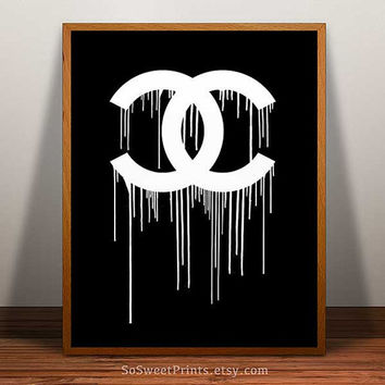Chanel Poster, Chanel Print, Chanel dripping, Chanel wall art, Coco Chanel art, Chanel decor print, Chanel home decor, 8x10, 11x14, 16x20