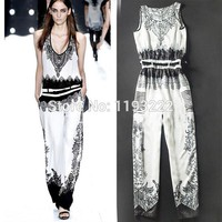 Pinup Sexy Women Black White Floral Sleeveless Deep V-neck Belted Long Pants Jumpsuit Rompers