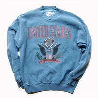 Large United States of America Blue Crewneck - Vintage 90s Crewneck Sweatshirt - Gift for Military - Gift for Her - Xmas Gift