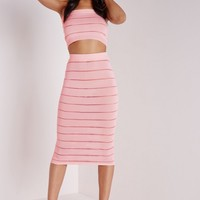 SHEER STRIPE BANDEAU TOP PINK