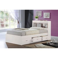 BELLACOR HIBT70 WHITE White Captain Twin Bed with Headboard